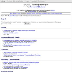 EFL/ESL Teaching Techniques from The Internet TESL Journal