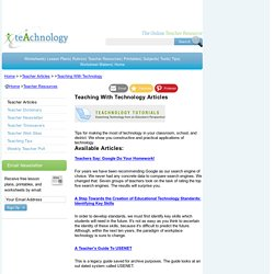 Teaching With Technology Articles- Learn about teaching w/technology