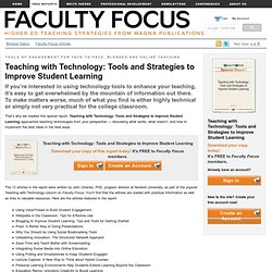 Teaching with Technology: Tools and Strategies to Improve Student Learning