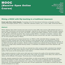 Mixing a MOOC with flip teaching in a traditional classroom - MOOC (Massive Open Online Course)