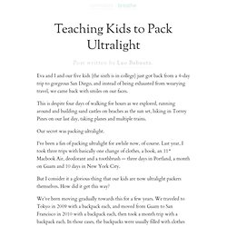 » Teaching Kids to Pack Ultralight
