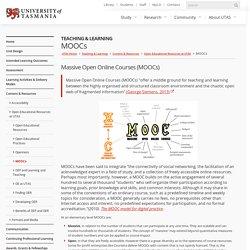 MOOCs - Teaching & Learning - University of Tasmania, Australia