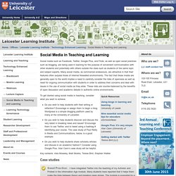 Social Media in Teaching and Learning