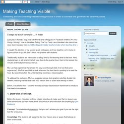 Making Teaching Visible: 5 steps to teach concepts ... in math