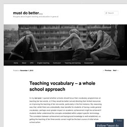 READING - Teaching vocabulary – a whole school approach