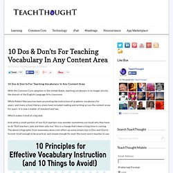 10 Dos & Don'ts For Teaching Vocabulary In Any Content Area