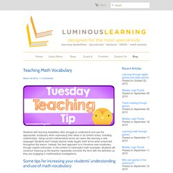 Teaching Math Vocabulary – Luminous Learning