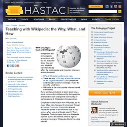 Teaching with Wikipedia: the Why, What, and How