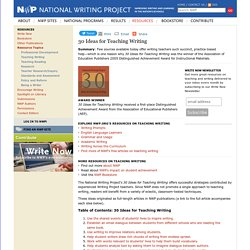 30 Ideas for Teaching Writing - National Writing Project
