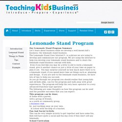 TeachingkidsBusiness.com Lemonade Stand Program