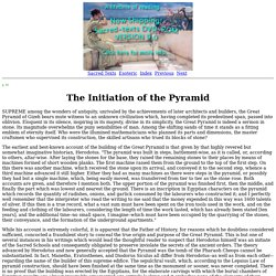Secret Teachings of All Ages: The Initiation of the Pyramid