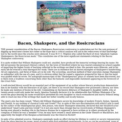 Secret Teachings of All Ages: Bacon, Shakspere, and the Rosicrucians