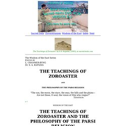 The Teachings of Zoroaster: Title Page