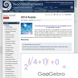 2013 Puzzle - Activities - teachmathematics.net