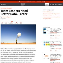 Team Leaders Need Better Data, Faster
