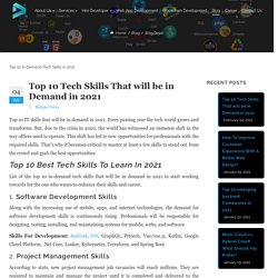 Top 10 Tech Skills That will be in Demand in 2021
