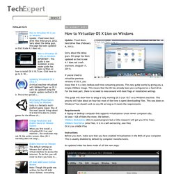 How to Virtualize OS X Lion on Windows