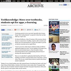 Techknowledge: Move over textbooks, students opt for apps, e-learning