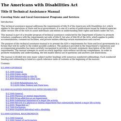 ADA Title II Technical Assistance Manual