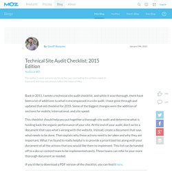 Technical Site Checklist 2015