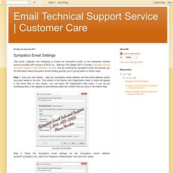 Customer Care: Sympatico Email Settings