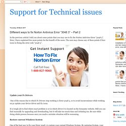 "Support for Technical issues: Different ways to fix Norton Antivirus Error ""3048 3"" – Part 2"