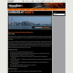 Toronto - Senior In-House Technical Director - Side Effects Software Inc.
