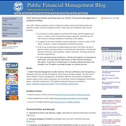 PFM blog: FAD Technical Notes and Manuals on Public Financial Management / Guidance Notes