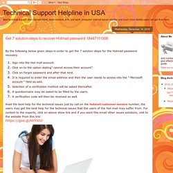 Technical Support Helpline in USA: Get 7 solution steps to recover Hotmail password 18447111008