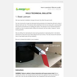 HVLS Technical Bulletin - Installation Changes (Blade Lubricant and Mounting)