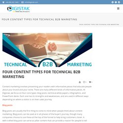 Four content types for Technical B2B Marketing - Digistak Marketing