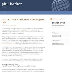 JISC CETIS OER Technical Mini Projects Call