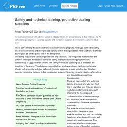 Safety and technical training, protective coating suppliers