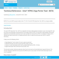 Technical Reference – Intel® HTML5 App Porter Tool - BETA