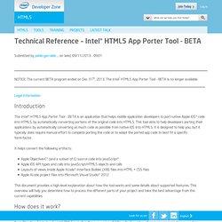 Technical Reference – Intel® HTML5 App Porter Tool - BETA