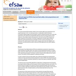 EFSA 16/05/12 2011 Annual Report on crisis preparedness & response .
