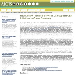 How Library Technical Services Can Support OER Initiatives: e-Forum Summary