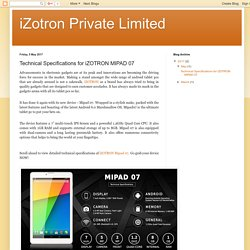 iZotron Private Limited: Technical Specifications for iZOTRON MIPAD 07