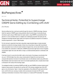 Technical Note: Potential to Supercharge CRISPR Gene Editing by Combining with rAAV