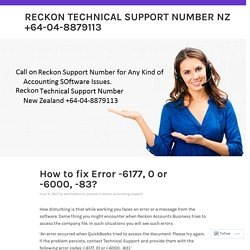 How to fix Error -6177, 0 or -6000, -83? – Reckon Technical Support Number NZ +64-04-8879113