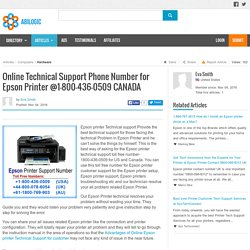 Online Technical Support Phone Number for Epson Printer @1-800-436-0509 CANADA