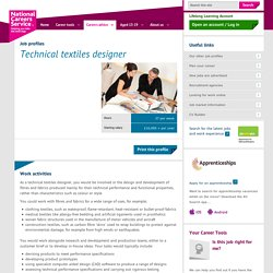 Technical textiles designer Job Information