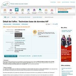 Technicien base de données H/F - Offre d'emploi Technicien base de données H/F