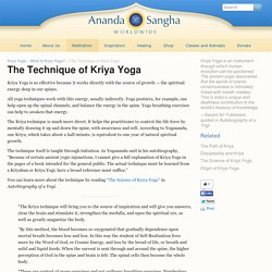 The Technique of Kriya Yoga