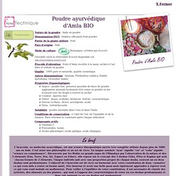 Fiche technique Extrait de plante : Poudre ayurvédique d'Amla