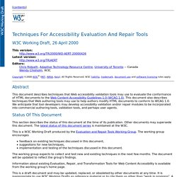 Techniques For Accessibility Evaluation And Repair Tools