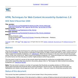 HTML Techniques for Web Content Accessibility Guidelines 1.0
