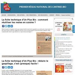 Les fiches techniques de Un PlusBio, 1er réseau national des cantines bio et rebelles