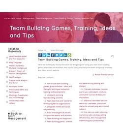 Team Building: Games, Ideas, Tips and Techniques - BusinessBalls.com