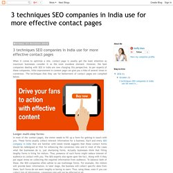 3 techniques SEO companies in India use for more effective contact pages
